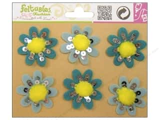 Feltables Fashion Embl Pom Flower Aqua 6pc