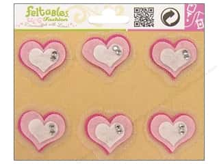 Hearts Basic Components: Feltables Fashion Embellishment Tulle Heart Pink/Ivory 6pc