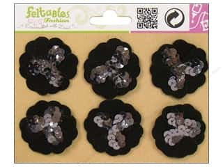 Feltables Fashion Embl Sequin Flower Black 6pc