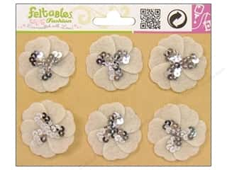 Feltables Fashion Embl Sequin Flower Ivory 6pc