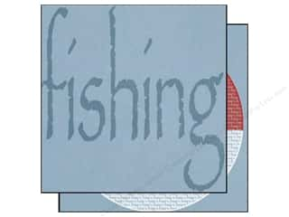 Papers Sports: Scrappin Sports Paper 12x12 Sporty Words Fishing (25 pieces)