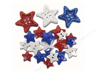 Sew-on Buttons: Jesse James Embellishments Red, White and Blue Stars!