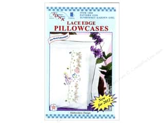 Pillow Shams Jack Dempsey Pillowcase Hemstitched White: Jack Dempsey Pillowcase Lace Edge White Sunbonnet Garden Girl
