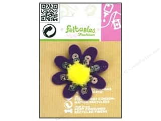 Clearance Feltables Fashion Embellishment: Feltables Fashion Embshmt Cutie Pom Flower Purple