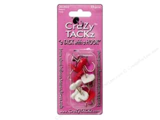 Tacks Pink: Crazy Tackz Tack With A Hook Heart Red/White/Pink12pc