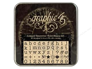 Graphic 45 Staples Wood Stamp Set Typewriter