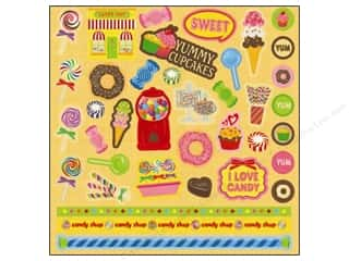 Chipboard Sheets: Best Creation Glitter Element Stickers 38 pc. Candy Shop