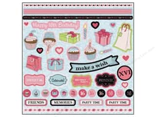 sticker: Best Creation Glitter Stickers 45 pc. Sixteen Candles
