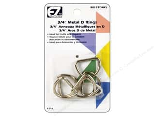 "EZ Notions $4 - $6: EZ D Rings 3/4"" Nickel 6pc"