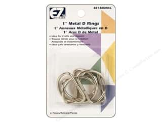 "EZ Notions $4 - $6: EZ D Rings 1"" Nickel 6pc"