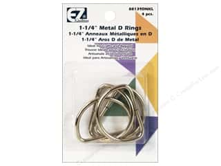 "EZ Notions $4 - $6: EZ D Rings 1 1/4"" Nickel 4pc"