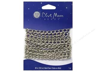 "Blue Moon Chain 80"" Cable Large Wide Silver"