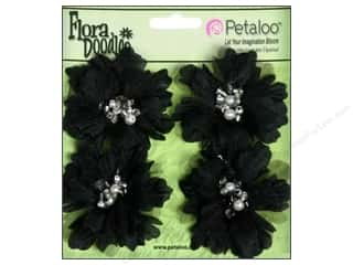 Petaloo FloraDoodles Peonies Beaded Small Black