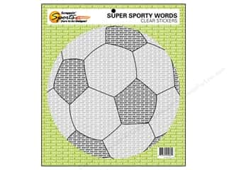 Sports Clear: Scrappin Sports Sticker Clear Sporty Words Soccer (10 pieces)