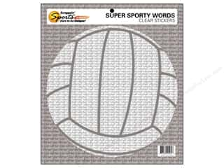 Scrappin' Sports Clear: Scrappin Sports Sticker Clear Sporty Words Volleyball (10 pieces)