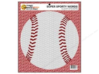 Scrappin' Sports Clear: Scrappin Sports Sticker Clear Sporty Words Baseball (10 pieces)