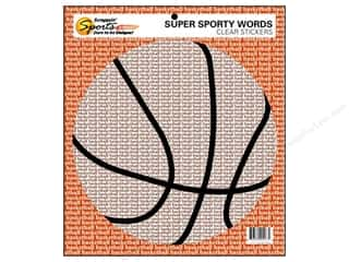 Sports Stickers: Scrappin Sports Sticker Clear Sporty Words Basketball (10 pieces)