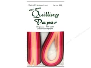 Lake City Crafts Quilling Paper 1/8&quot; Red/Pink 80pc