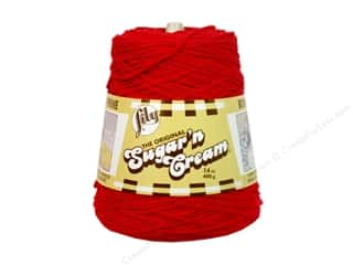 cotton yarn: Lily Sugar 'n Cream Yarn Cone 14 oz. #02095 Red