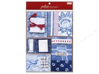 EK Jolee's Boutique Embellishment French General Scrap Pad Blue Fabric