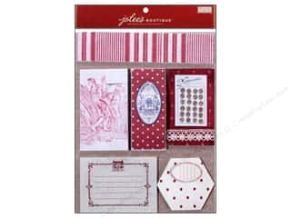 EK Jolee's Boutique Embellishment French General Scrap Pad Red Fabric