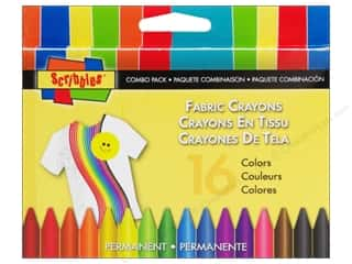 Scribbles: Scribbles Fabric Crayons Multi 16pc