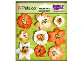 Coredinations Clearance Crafts: Petaloo Coredinations Color Match Mini Floral Tangerine 9pc