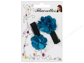 Hair Clearance Crafts: Mark Richards Fluerettes Flower Barrette Turquoise