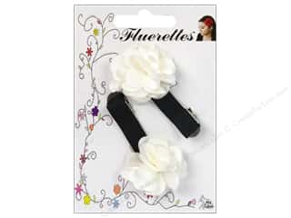 Mark Richards Fabric Flowers: Mark Richards Fluerettes Flower Barrette White