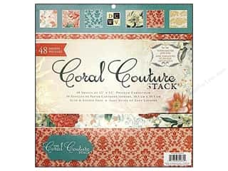 Clearance Die Cuts with a View Stacks: Die Cuts 12 x 12 in. Paper Stack Coral Couture