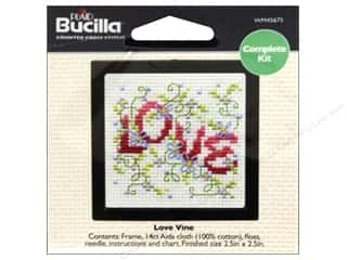 Cross Stitch Project Burgundy: Bucilla Counted Cross Stitch Kit 2 1/2 in. Love Vine