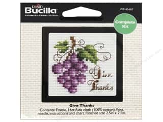 Cross Stitch Project Burgundy: Bucilla Counted Cross Stitch Kit 2 1/2 in. Give Thanks