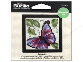 "Weekly Specials Bucilla Beginner Cross Stitch Kit: Bucilla Cross Stitch Kit Count Kit 2.5"" Butterfly"