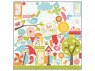 "theme stickers  summer: Echo Park Sticker 12""x 12"" Hello Summer Element (15 set)"