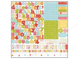 "Border Stickers / Corner Stickers: Echo Park Sticker 12""x 12"" Hello Summer Alphabet (15 set)"