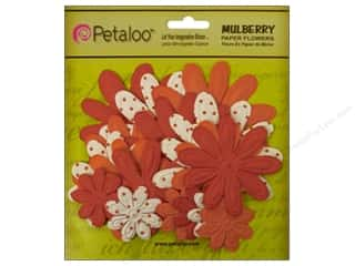 Petaloo Mulberry Daisy Embossed Orange 18pc