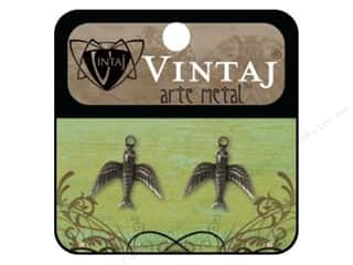 Vintaj Charm Watchful Bird Arte Metal 2pc
