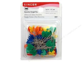flat head pins: Singer Straight Pins Decorative 100 pc. Box