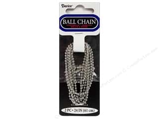 "jewelry chains: Darice Chain Ball 24"" 2.4mm Silver 2pc"