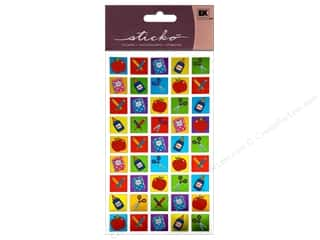 stickers  -3D -cardstock -fabric: EK Sticko Stickers Classroom Tiles