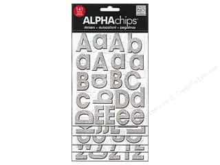 MAMBI Sticker Chipboard Alphachips Glitter Silver
