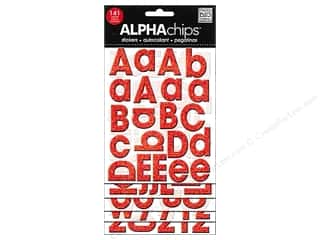 MAMBI Sticker Chipboard Alphachips Glitter Red