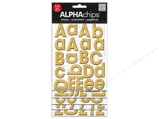 MAMBI Sticker Chipboard Alphachips Glitter Gold