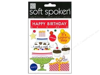 Pom Poms Ribbon Work: Me&My Big Ideas Sticker Soft Spoken Happy Birthday Pom Pom Banner