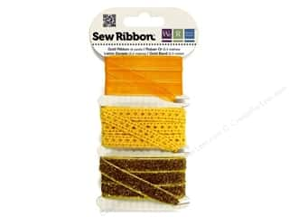 We R Memory Sew Ribbon 9yd Assorted Gold