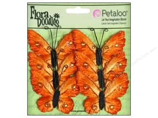 Petaloo FloraDoodles Butterflies Med Velvet Orange