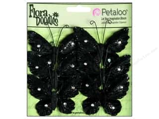 Petaloo FloraDoodles Butterflies Med Velvet Black