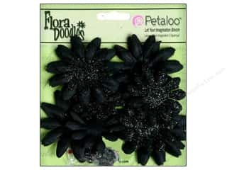 Glitter Black: Petaloo FloraDoodles Daisy Layers Small Glitter Black