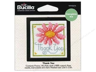 Cross Stitch Project Burgundy: Bucilla Counted Cross Stitch Kit Mini Thank You