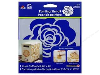 "Plaid Stencil Laser Painting 6""x 6"" Single Rose"